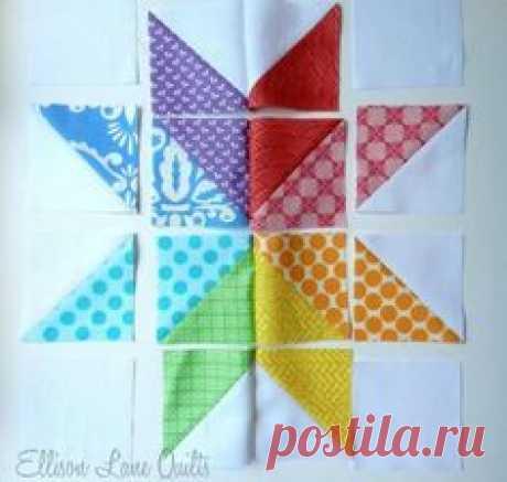 Лоскутное шитье, схема блока для одеяла. Звездочка