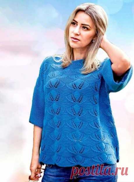 Синий пуловер, вяжем спицами