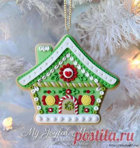 Новогодние домики, елочки, снежинки из пластики