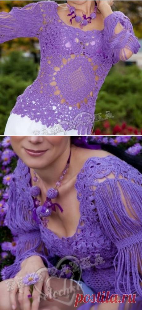 Tina's handicraft: crochet blouse with flowers