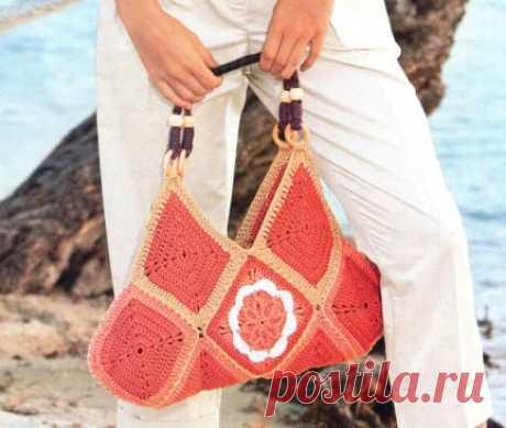 сумка из вязанных квадратов - Сумки