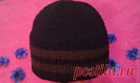 Двойная мужская шапка спицами