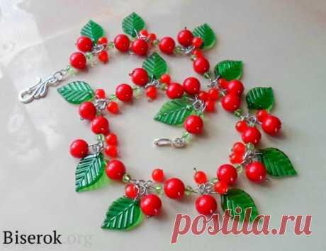 Сегодня я покажу как сделать колье «Калина» / Колье, бусы, ожерелья / Biserok.org