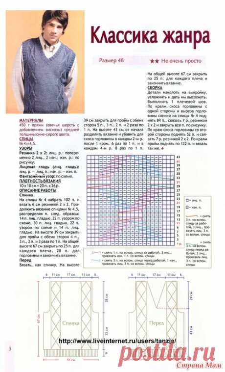 МК по вязанию спицами мужского классического жилета с подробным описанием и схемой