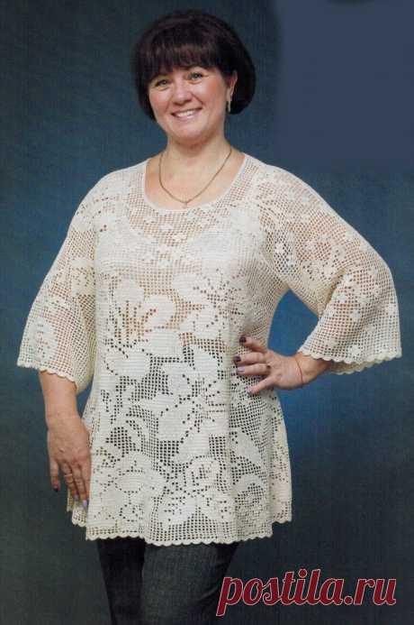 Филейное вязание женской одежды по схемам. Внимание!..   Светлана   Яндекс Дзен