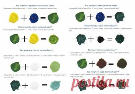 Полезный пост  Как получить зеленый цвет, смешивая краски    Зеленая краска получается смешиванием желтого и синего цвета. Широкая гамма оттенков зеленого зависит от пропорций смешивания основных красок, а так же внесением дополнительных  затемняющих или засветляющих тонов: белой и черной краски.  Показать полностью…