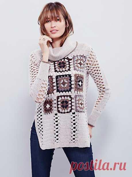 Интересный свитер из простого мотива