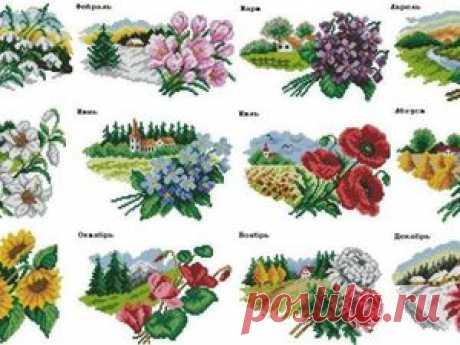 Цветочный календарь: вышиваем крестиком круглый год