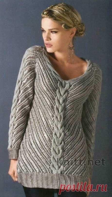 Благородный и стильный пуловер СПИЦАМИ С ВЫШИВКОЙ КРЮЧКОМ