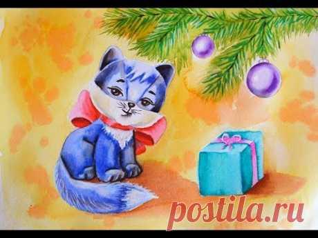 Открытка Новый год. Маркеры+ акварель. Postcard New Year.