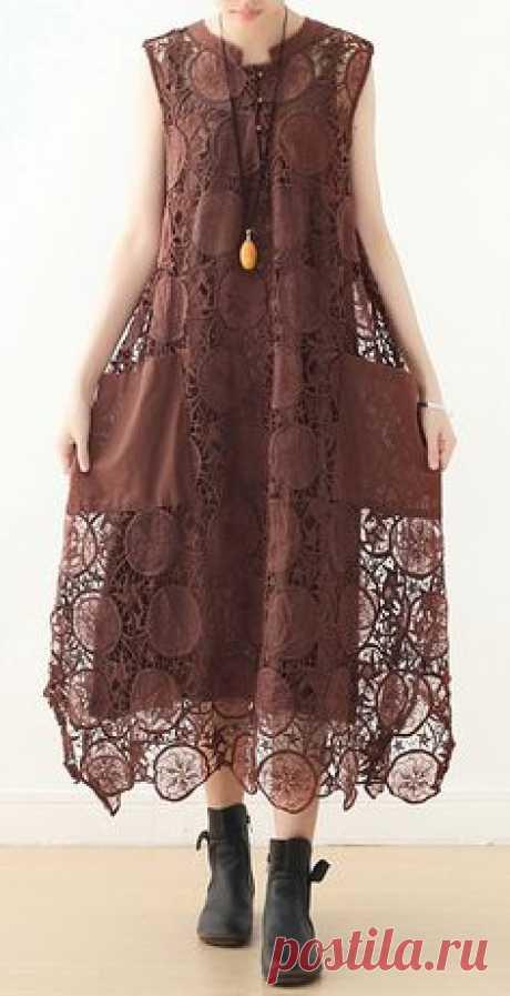 Organic khaki sleeveless cotton Tunics o neck summer Dresses