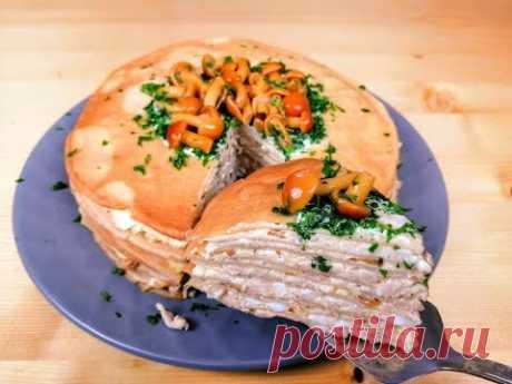 Гости ахнут от этой идеальной закуски! Рецепт куриного, блинного торта с грибами