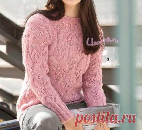 Пуловер с ажурным узором из кос - Описание вязания, схемы вязания крючком и спицами   Узорчик.ру