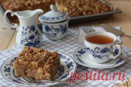 Яблочный пирог с овсяной крошкой, рецепт с фото.
