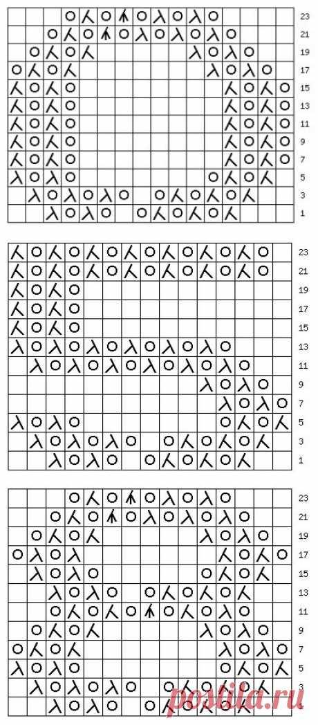 узор 184 ажурные цифры | каталог вязаных спицами узоров