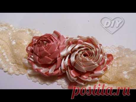 Смотрите что можно сделать из узкой ленты!/Amazing narrow ribbon flower/Flor fita estreita incrível