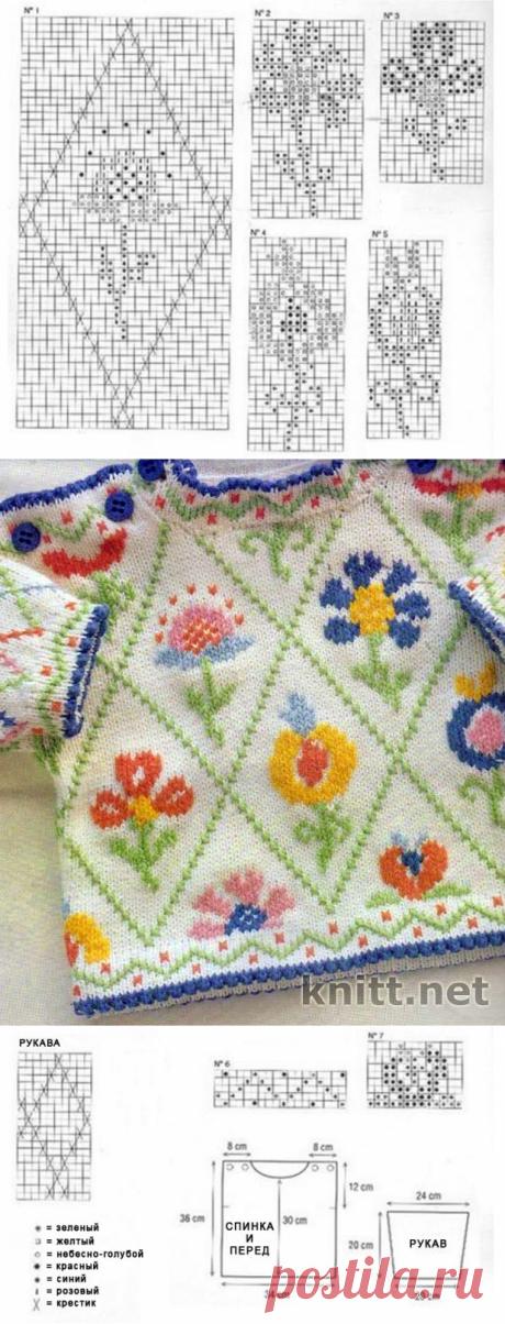Детски пуловер спицами с вышивкой