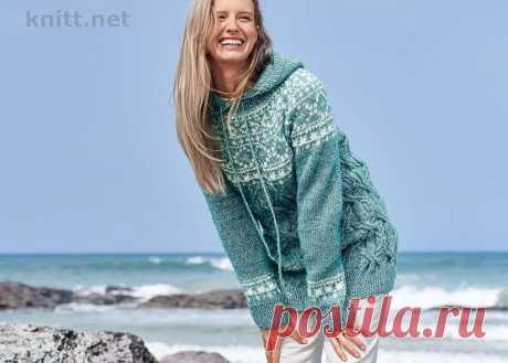 Вязание женского пуловера с капюшоном Вязание женского пуловера с капюшоном и жаккардовой кокеткой очень увлекательное занятие. Если вы любите жаккардовую технику свяжите эту модель!