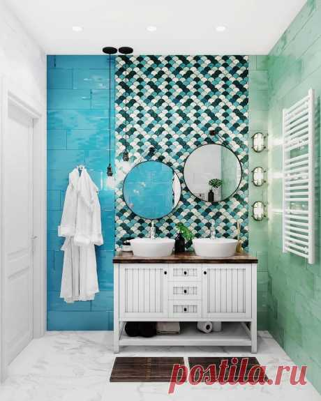 Бирюзовая ванная комната:лучшие фото современного дизайна интерьера