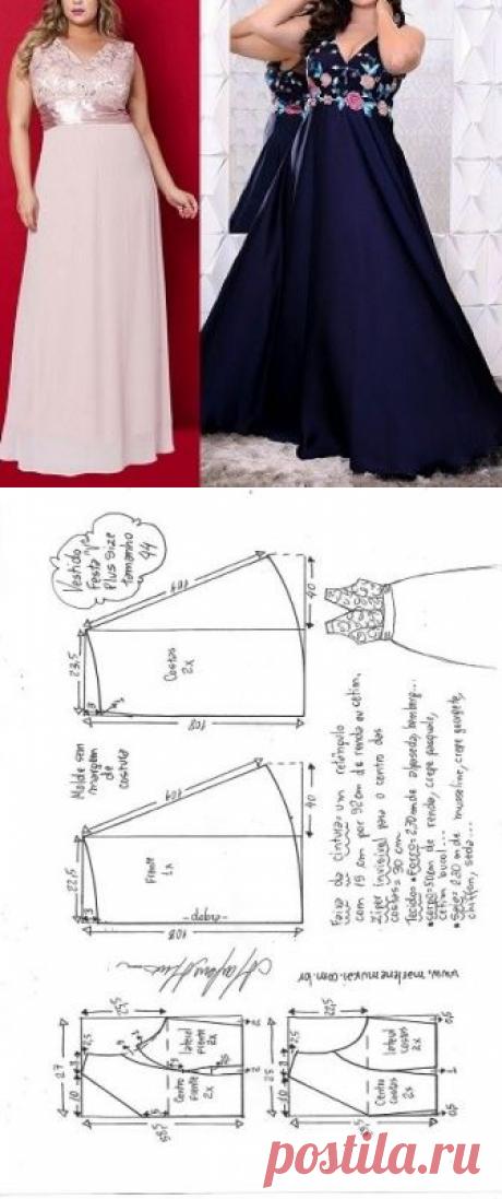 Vestido festa Plus Size evasê com decote V. | DIY - molde, corte e costura - Marlene Mukai