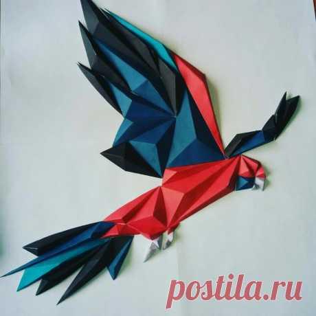 Как сделать большого попугая из бумаги, скачать шаблон