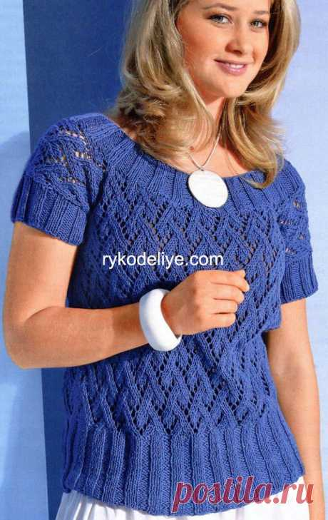 Blue pullover with an elastic band.