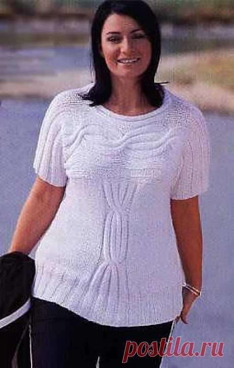 Белый пуловер с косами. Вязание спицами. - Вязание для полных - Схемы вязания - Модели и схемы вязания спицами 2013 - 2014 года