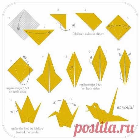 Idea to learn to do paper zhuravlik!