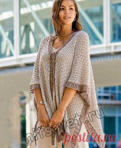 Модный вязаный жакет-накидка - Хитсовет