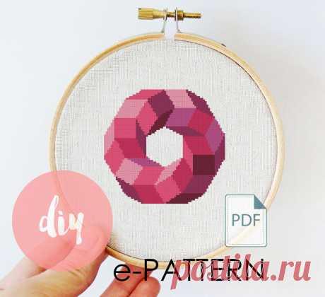 """Бесплатная авторская схема вышивки крестом """"Розовый круг"""" Геометрия"""