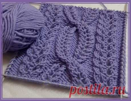 """Красивый узор: фантазийная коса из ажурных дорожек. Этот образец и описание сделано Светланой (найдено на Дзене. Канал """"Вязалушка""""). Оформление фотографий сделано мной, информация взята из материалов поста Вязалушки. #knitting #вязание_спицами #узоры_спицами"""