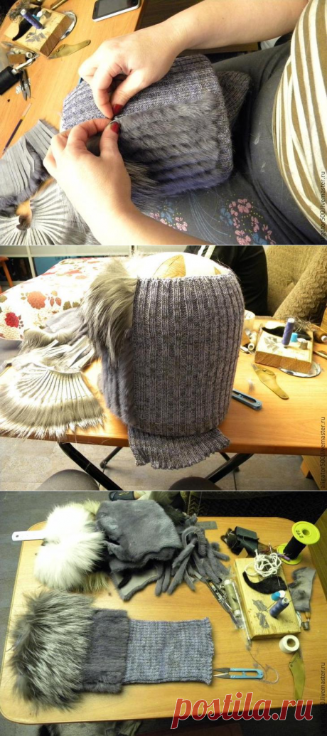 Como coser el gorro de piel por el método del galón de las rayas de piel