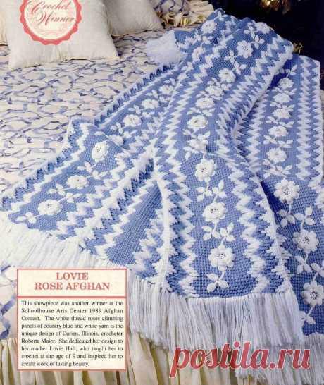 """Плед """"Белые розы"""". Мастер-класс по выполнению обвязки (тунисское вязание)."""