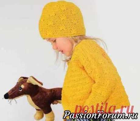 Жакетик и шапка для девочки. Схемы и описание | Детская одежда крючком. Схемы