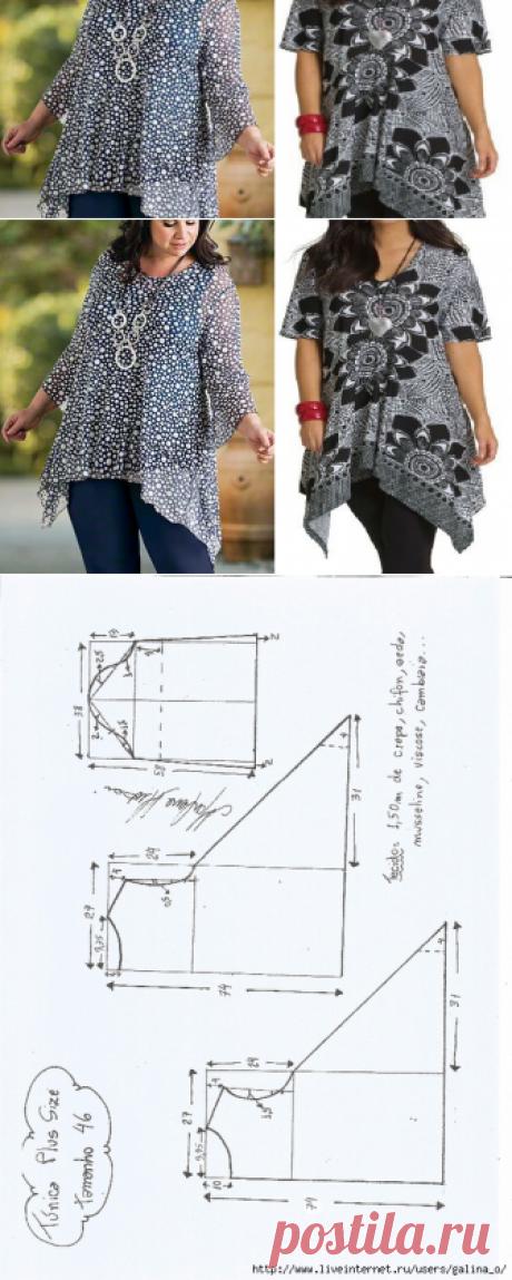 Tunic Plus size. Schemes of modeling