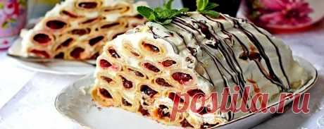 Блинный торт с вишней и сметанным кремом • Пошаговый рецепт Блинный торт с вишней и сметанным кремом — пошаговый рецепт приготовления с подробным описанием. Как приготовить дома и сделать вкусно и просто
