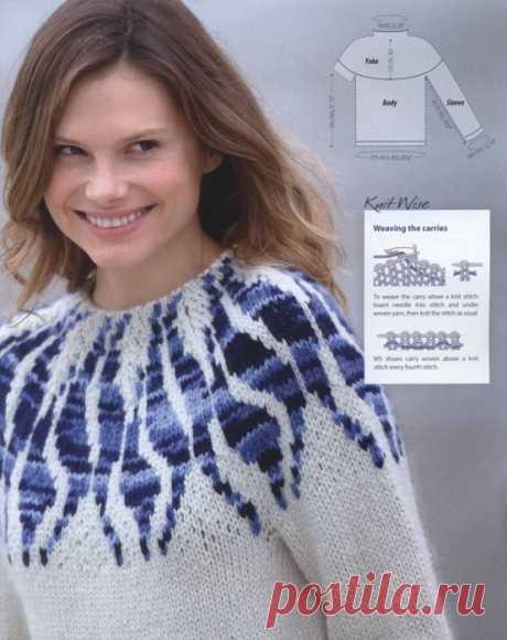 Интересный пуловер с жакардовой кокеткой