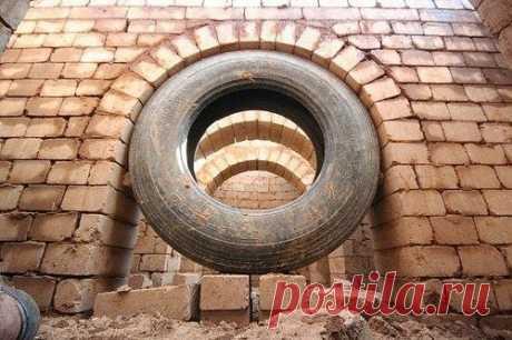 Создание арки при помощи старой шины.