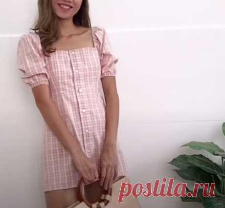 Модное платье из рубашки DIY