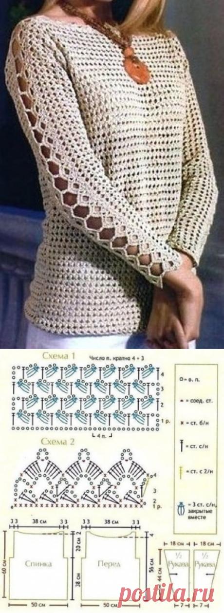 Симпатичный летний пуловер крючком