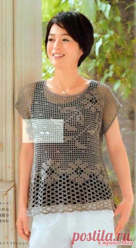 Ажурная блуза филейным вязанием. - ВЯЗАНАЯ МОДА+ ДЛЯ НЕМОДЕЛЬНЫХ ДАМ - Страна Мам