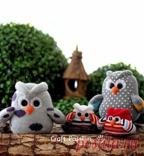 Совушки из носка Совушки из носкаСовушки из носка это бюджетная мягкая игрушка, которую ребенок может сделать сам.
