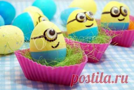 Крашеные яйца «Миньоны» Крашеные яйца «Миньоны», эти классные мультяшные яйца на праздник придутся по вкусу всем детям.