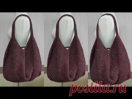 손뜨개 코바늘 망태기가방 숄더백 - crochet  square motif bag