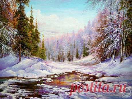 «Зима» картина Кораблевой Елены маслом на холсте — заказать на ArtNow.ru