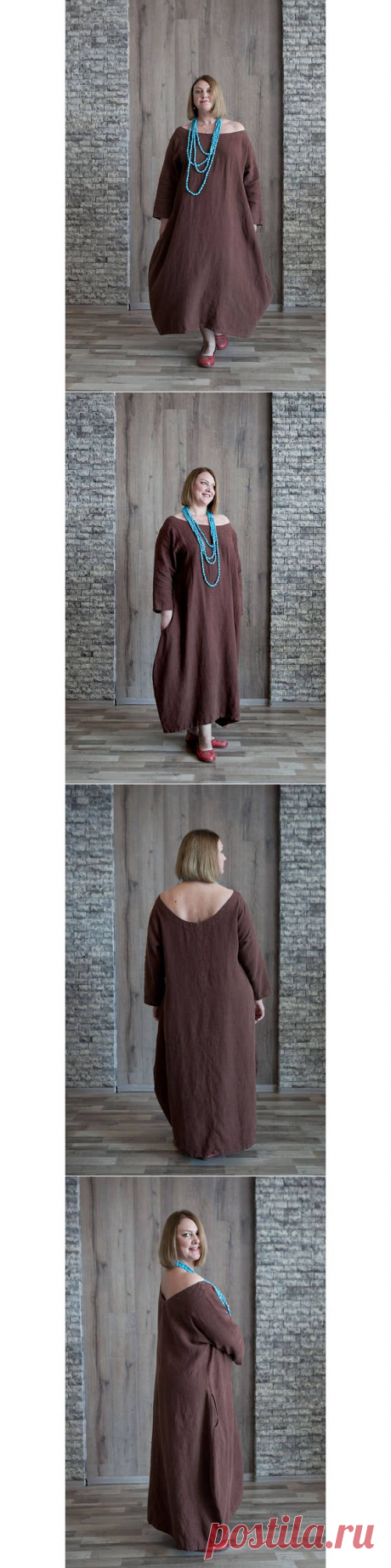 Linen dress with long sleeves Washed fall linen dress Maxi
