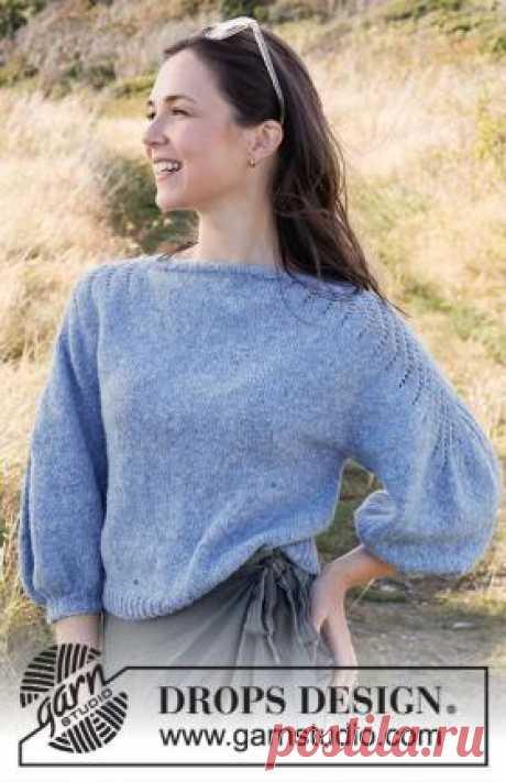 Джемпер Сапфировые тропы Потрясающая модель женского джемпера с пышными рукавами, связанного спицами 4 мм из пряжи