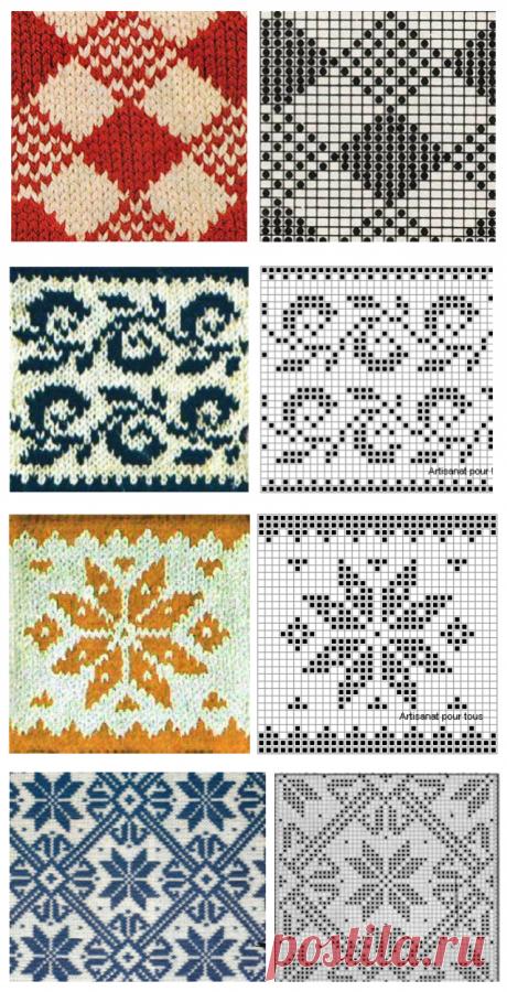 Вязание спицами - жаккард и норвежское двухцветное