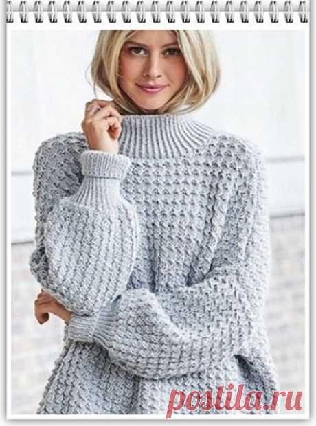 Галкин Дневник: Удобный женский свитер свободного силуэта   спицы