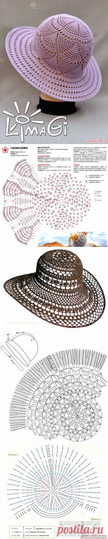 Дамская шляпка вязать крючком
